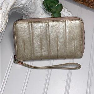 Hobo The Original Gold Metallic Zip Around Wallet